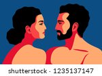 romantic concept. couple in... | Shutterstock .eps vector #1235137147