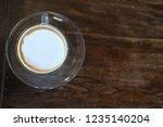 hot espresso macchiato coffee... | Shutterstock . vector #1235140204