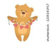 romantic adorable cartoon teddy ... | Shutterstock .eps vector #1235141917