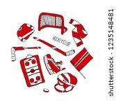 hockey set illustration | Shutterstock . vector #1235148481