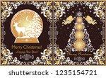 ornate vintage christmas... | Shutterstock . vector #1235154721