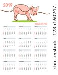 calendar template for 2019 with ... | Shutterstock .eps vector #1235160247