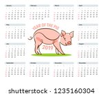 calendar template for 2019 with ... | Shutterstock .eps vector #1235160304