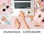 fashion blogger working with... | Shutterstock . vector #1235166184