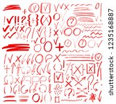 hand drawn sketch red signs ... | Shutterstock .eps vector #1235168887