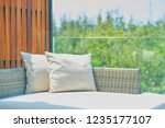 sofa with pillows in sunlight ... | Shutterstock . vector #1235177107