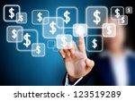 hand of business women pushing... | Shutterstock . vector #123519289