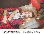 happy woman on christmas tree... | Shutterstock . vector #1235194717