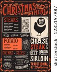 christmas menu template for... | Shutterstock .eps vector #1235197987