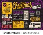 christmas menu template for... | Shutterstock .eps vector #1235198011