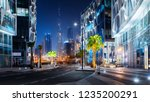Stock photo beautiful view to dubai downtown city center skyline from design district at night united arab 1235200291