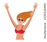 woman in swimsuit | Shutterstock .eps vector #1235210494