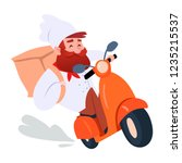 cook riding on retro scooter... | Shutterstock .eps vector #1235215537