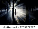 Small photo of The meeting with an alien civilization - blurred aliens figure and light of an UFO spaceship landing in the forest