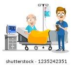 hospitalized senior man lying... | Shutterstock .eps vector #1235242351