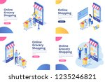 online grocery shopping... | Shutterstock .eps vector #1235246821