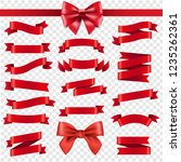 red ribbon and bow transparent... | Shutterstock . vector #1235262361