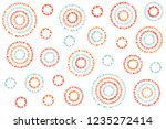 watercolor salmon red  blue and ... | Shutterstock . vector #1235272414