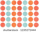 watercolor circles in salmon... | Shutterstock . vector #1235272444