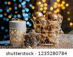 closeup christmas balls for... | Shutterstock . vector #1235280784