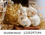 two cute pigs figure as a... | Shutterstock . vector #1235297194
