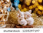 two cute pigs figure as a... | Shutterstock . vector #1235297197