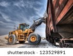 wheel loader excavator with... | Shutterstock . vector #123529891