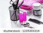hairdresser working desk...   Shutterstock . vector #1235303314