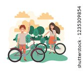 children with bicycle in... | Shutterstock .eps vector #1235309854