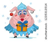 funny cartoon christmas pig  | Shutterstock .eps vector #1235313514