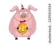 funny cartoon pig with coin  | Shutterstock .eps vector #1235314324