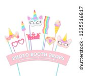 cute unicorn photo booth party... | Shutterstock .eps vector #1235316817