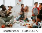 diverse children enjoying... | Shutterstock . vector #1235316877