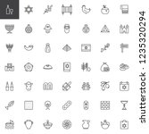 Judaism Outline Icons Set....