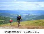 summer hiking in the mountains. | Shutterstock . vector #123532117