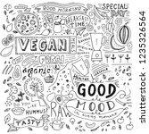 kitchen doodle pattern  cafe...   Shutterstock .eps vector #1235326564