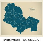 modern city map   wigan city of ... | Shutterstock .eps vector #1235339677