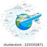 plane airliner with earth... | Shutterstock .eps vector #1235352871