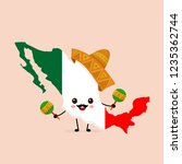 cute funny smiling happy mexico ... | Shutterstock .eps vector #1235362744