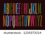 vector embroidery alphabet.... | Shutterstock .eps vector #1235373214