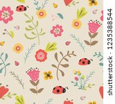 floral seamless pattern hand...   Shutterstock .eps vector #1235388544