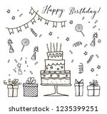 happy birthday hand drawn... | Shutterstock .eps vector #1235399251