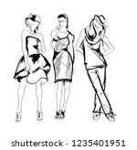 sketch. fashion girls on a... | Shutterstock .eps vector #1235401951
