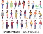 crowd of vector tiny people set ... | Shutterstock .eps vector #1235402311