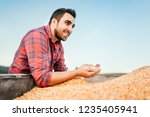 young worker  young farmer on... | Shutterstock . vector #1235405941