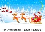 santa and deer on background... | Shutterstock .eps vector #1235412091