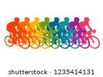 colorful poster with cyclists... | Shutterstock .eps vector #1235414131