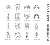 set of 16 dentist linear icons... | Shutterstock .eps vector #1235417701