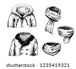 set of winter jackets and... | Shutterstock .eps vector #1235419321