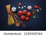 ingredient for spaghetti...   Shutterstock . vector #1235420764